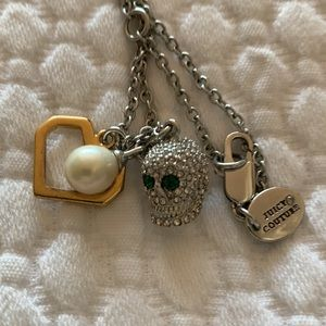 Juicy Couture Pave Skull Pearl Pendant Cluster